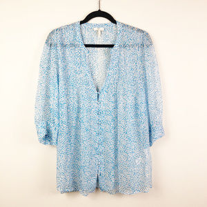 Joie 100% Silk Sheer Blue White Spotted Blouse S